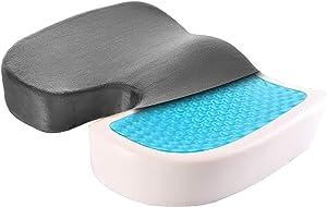 Premium Coccyx Office Chair Cushion - Tailbone Pain Relief Lumbar Memory Foam Seat Cushion - Sciatica Pillow Ergonomic Car Cushion Contoured Posture Corrector (Gray)