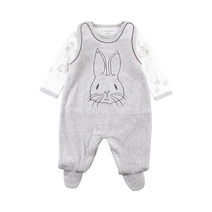 Fixoni Hush Suitset-Oekotex, Pelele Unisex bebé, Gris (Grey Melange 01-