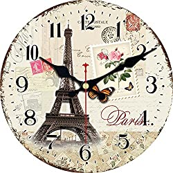 ShuaXin 12 Inch Wooden French Style Decorative Wall Clocks,Eiffel Tower Design Round Wall Clocks for Kids Room,Children Bedroom,Kitchen,Living Room