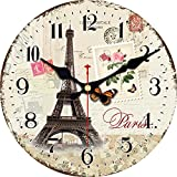ShuaXin 12 Inch Silent Round Wall Clocks Living Room Decorative Vintage/Country / French/Eiffel Tower Style Wooden Clock (#F)