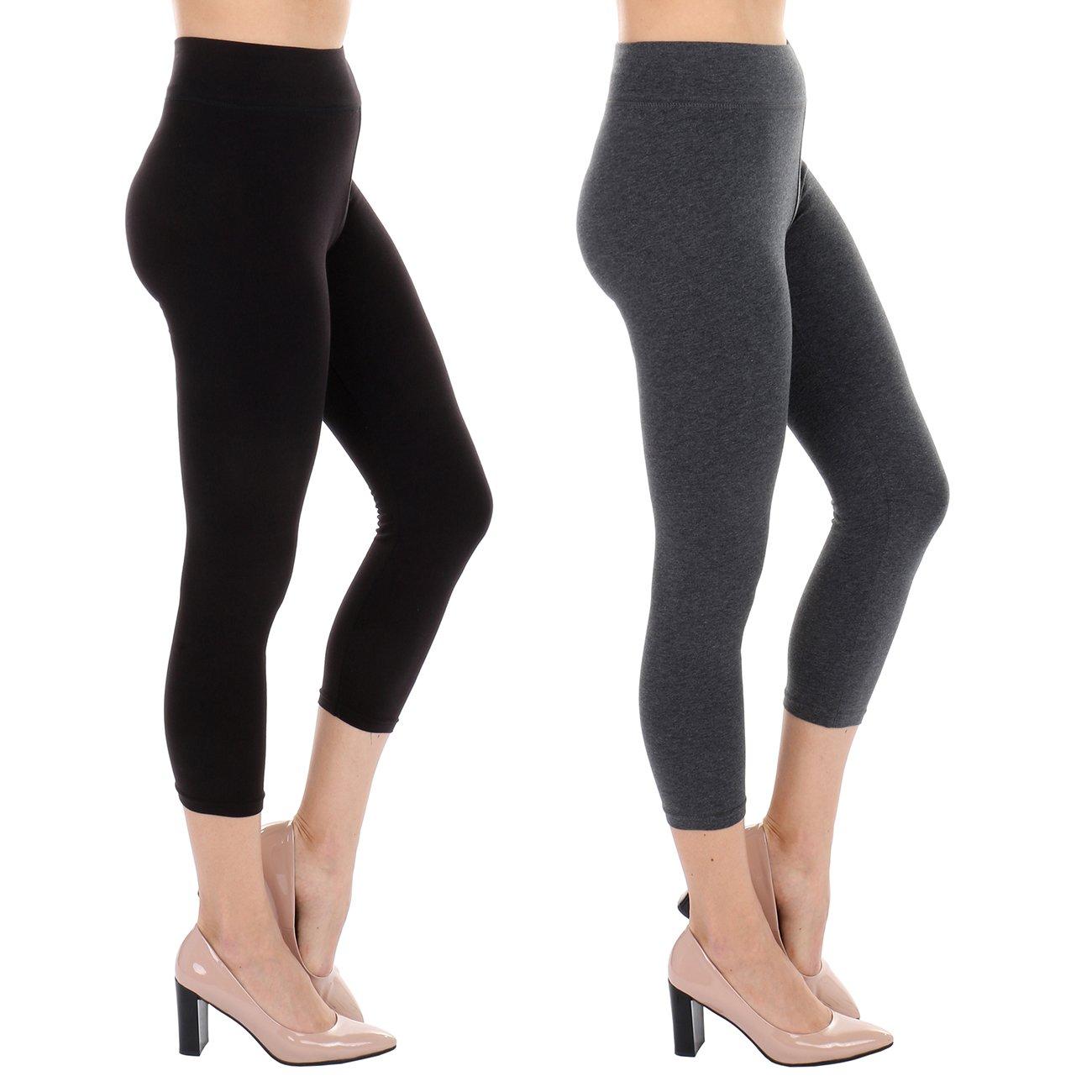 TODAY SHOWROOM Cotton Capri- Non See Thru Fabric-Yoga Waist Cropped Leggings (2pk (Black/Charcoal), Large)