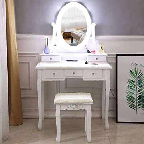 Amazon Com Vanity Table Set White Makeup Dressing Table With Oval Lighted Mirror Cushioned Stool 3 Drawers 2 Storage Cases Wooden Makeup Furniture For Women Girls Bedroom A1 Kitchen Dining