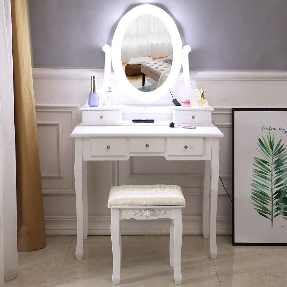BELUPAID Dressing Table with Lights, 5 Drawers Single Mirror Wooden Makeup Vanity Table and Cushioned Stool for Girls Women Bedroom Makeup Organizer - White by BELUPAID