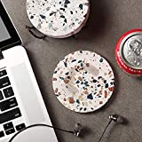 LIFVER Coasters for Drinks, Absorbent Coasters with Holder Set of 6, Avoid Furniture Being Scratched and Soiled, Housewarming Gift for Home Decor, 4 inches - Terrazzo