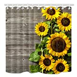 HNMQ Sunflower Shower Curtain 3D Printing, Spring Field Flowers on Country Wooden Board, Upgrodes Mildew Resistant Fabric Bathroom Decorations, Bath Curtains Hooks included, 69X70 Inches(yellow green)