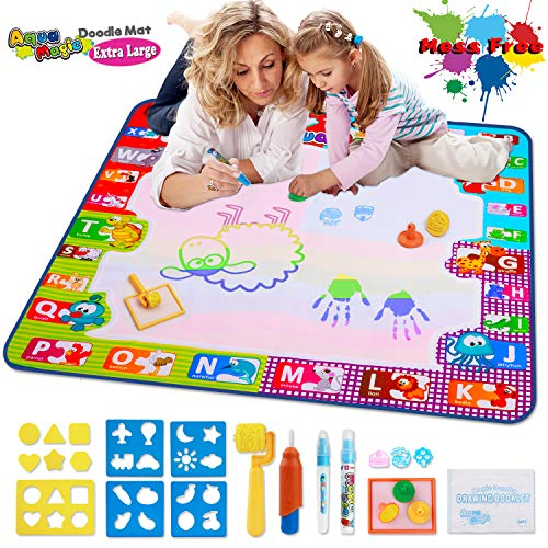 Aqua Magic Doodle Mat Large Educational Water Drawing Mat for Kids Toy Toddler Painting Board with 2 Magic Pens, 1 Magic Brush, and Drawing Accessories for Boys Girls Size 30.3'' x 30.3'' (Things To Ask While Playing 20 Questions)