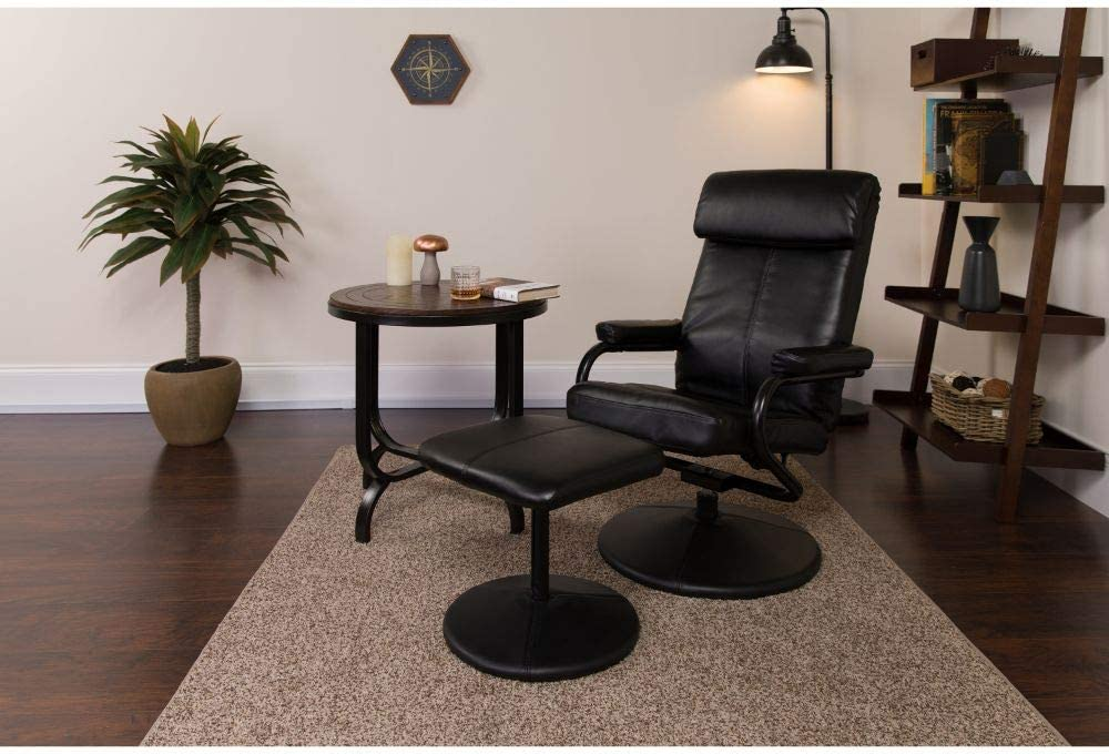 Flash Furniture Contemporary Multi-Position Headrest Recliner and Ottoman with Wrapped Base in Black LeatherSoft