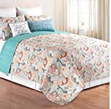 3 Piece Colorful Mermaids Design Quilt Set Full/Queen Size, Featuring Reversible Sea Corals Seahorse Starfish All Over Pattern Bedding, Stylish Coastal Beach Inspired Bedroom Decoration, Blue, Orange,