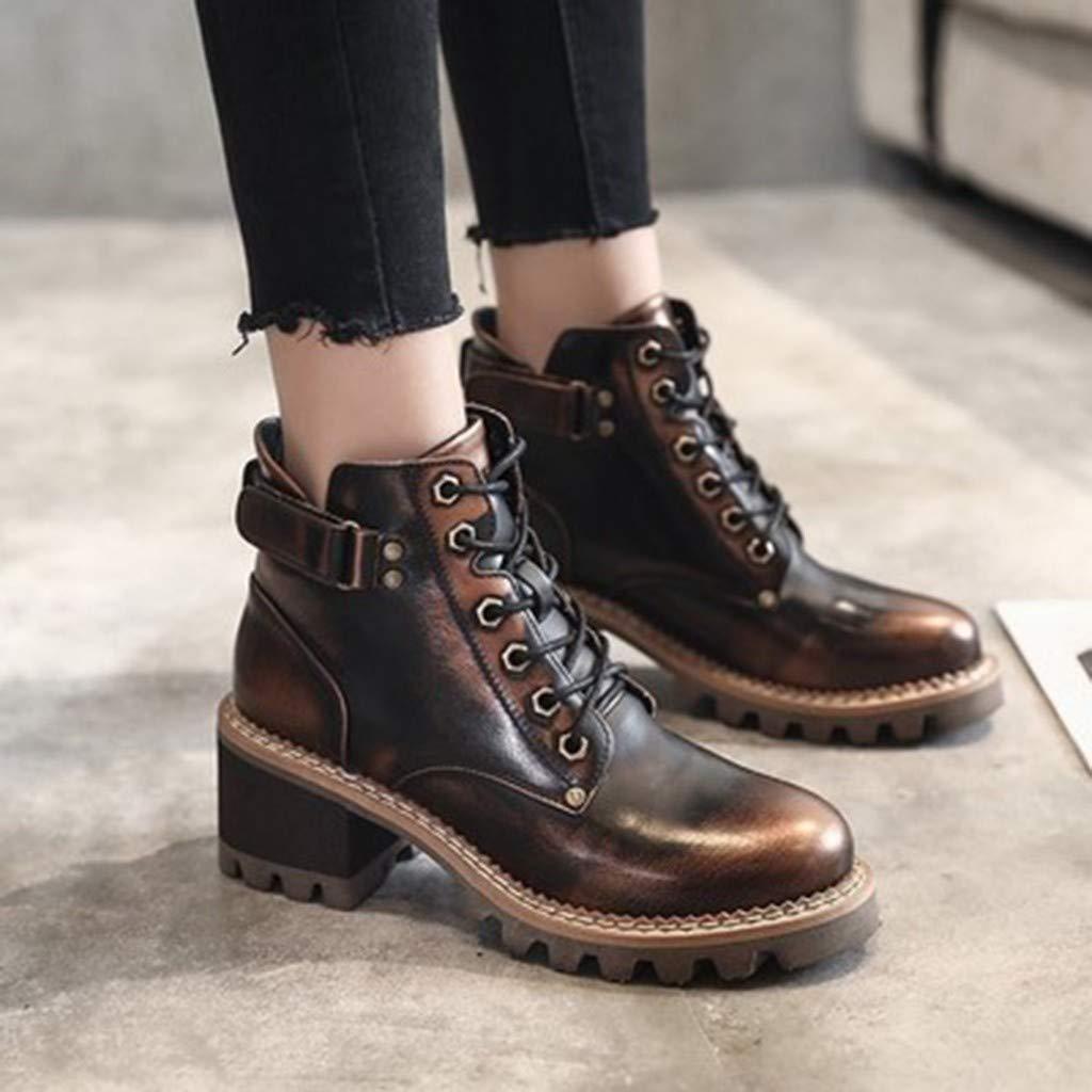 Bottes pour Dames LGHOVRS Chaussures /à Lacets /éL/éGantes avec Boucle /à Lani/èRe Bottines Western /à Talons Bas Hiver S/écurit/é