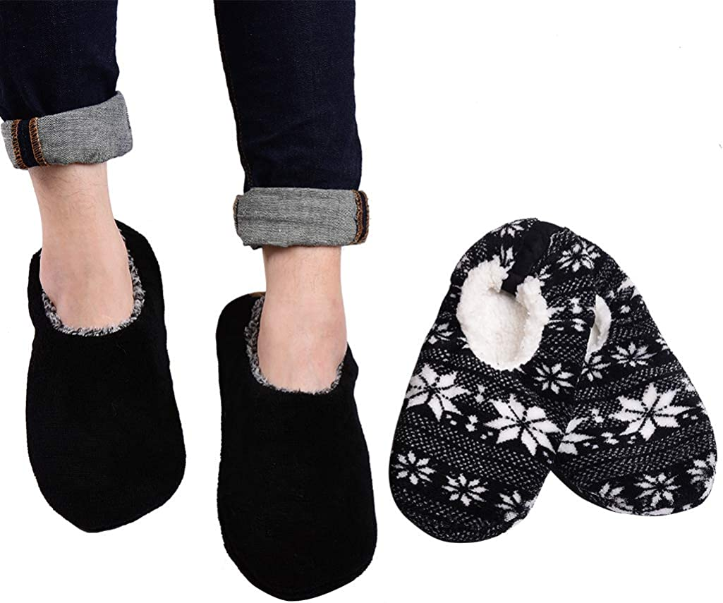Panda Bros 2 Pairs Mens Slipper Socks Low Cut Super Soft Warm Home Sock with Non-Slip Indoor Slipper Shoes Socks