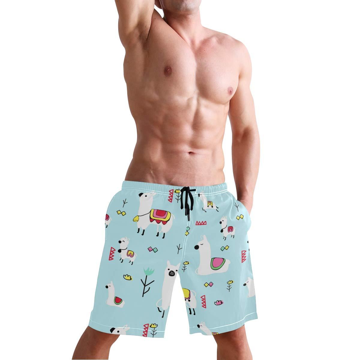 JTKPE Mens Swim Trunks Beach Shorts Llama Flowers Pattern Board Shorts Bathing Suit