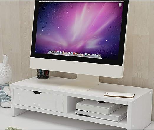 TopJiä Elevador del Monitor,Madera TV Ordenador Soporte para Monitor,Escritorio Almacenamiento Organizador Blanco 2 Nivel(1 Cajón): Amazon.es: Electrónica