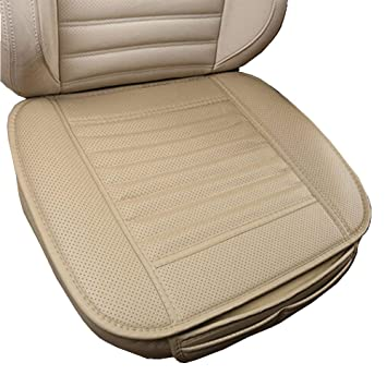 Car Seat Pad In Pu Leather Hmmj Luxury Bamboo Charcoal Car Seat Cushion Breathable And Comfortable Support Auto Office Chair Seat Cover 19 7 W X