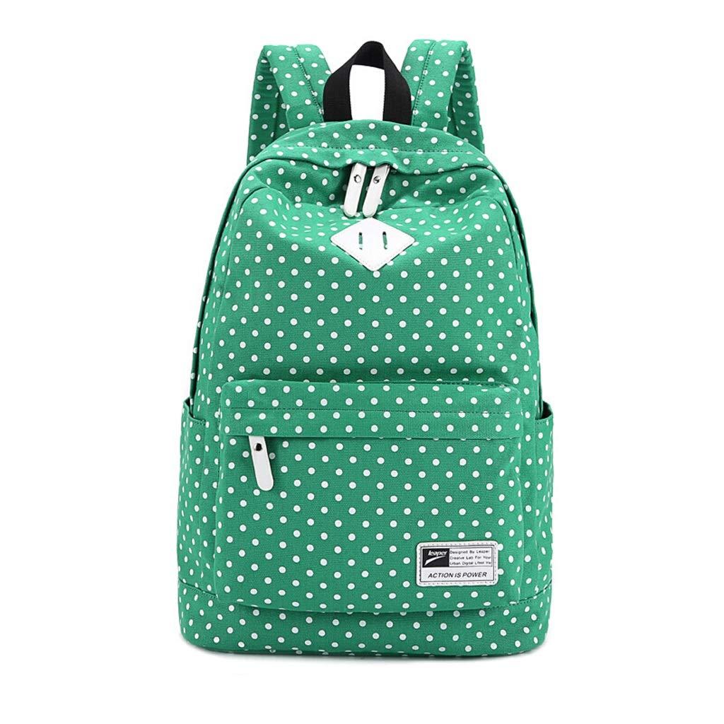 TKFMK バックパック 女性キャンバスドットバックバッグ、女性ミドルスクールスクールバッグ、快適なポータブルラップトップバッグカレッジウィンドバックパック (色 : 緑)  緑 B07RMSZ44F