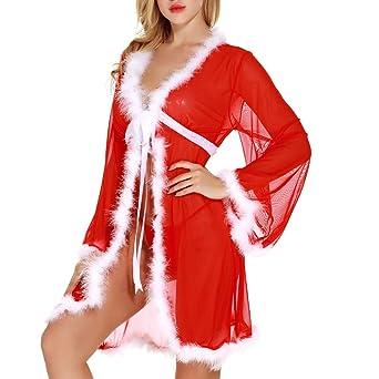 ❤ Lencería de Felpa Mujeres Navidad, Rojo Womens Christmas PlushB athrobe Ropa Interior de Manga Larga Absolute: Amazon.es: Ropa y accesorios