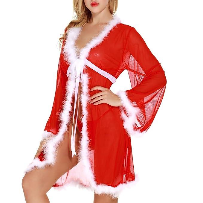 ❤ Lencería de Felpa Mujeres Navidad, Rojo Womens ...