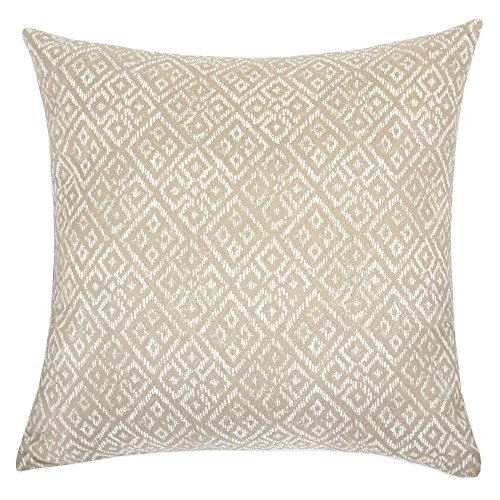 (Homey Cozy Jacquard Textile Throw Pillow Cover,Beige Series Taupe Beige Woven Diamond Decorative Square Couch Cushion Pillow Sham Case 20 x 20 Inch, Cover)