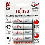 4 Pilhas AA Recarregáveis 2100x da Fujitsu Standard (= Eneloop) com 2000 mAh