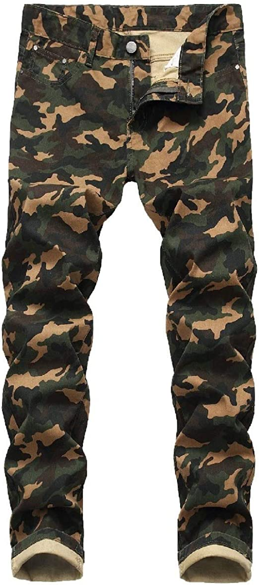 VITryst Men's Camo Pocketed Denim Printed Straight Stretchy Work Trouser Pants