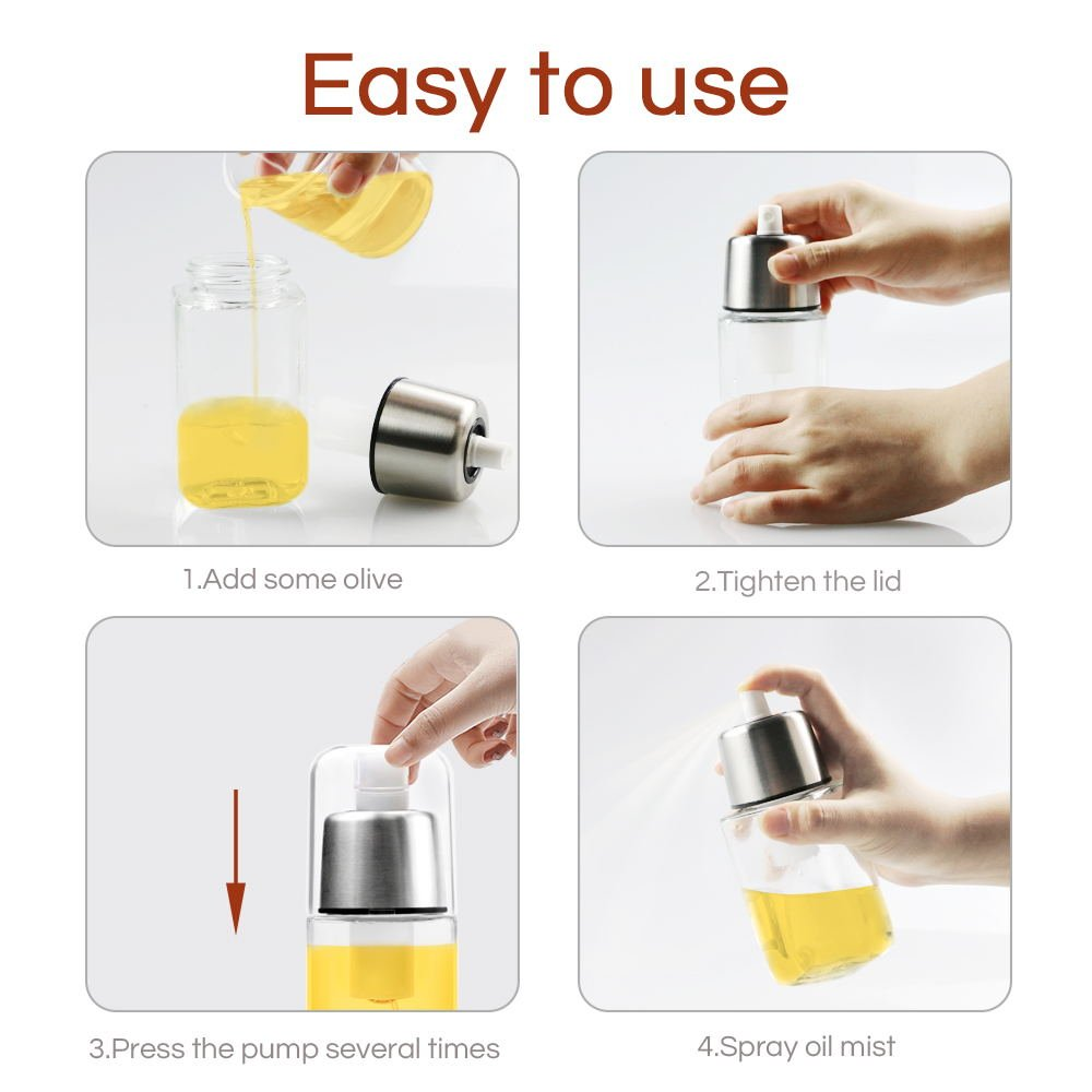 Oil Sprayer Stainless Steel Food-Grade Grass BPA Pump Spray Bottle for Cooking Frying Salad Baking BBQ Kitchen