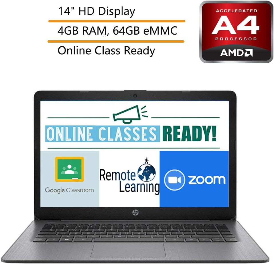 "HP Stream 14 14"" Laptop Computer, AMD A4-9120e up to 2.2GHz, AMD Radeon R3, 4GB DDR4 RAM, 64GB eMMC, Black, Windows 10, iPuzzle Mousepad, Webcam, Microphone, Online Class Ready"