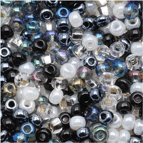 (Jablonex Czech Seed Beads Mix, 1-Ounce, Size 6/0, Top Hat Black, White and)