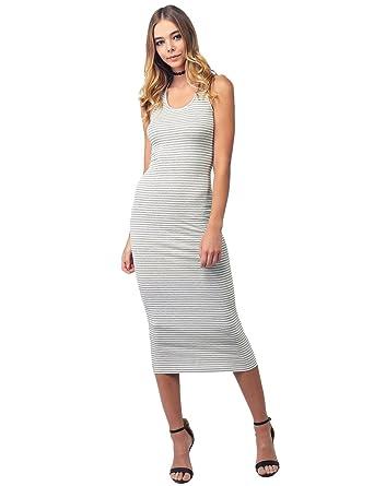 ba918a3e54dca Awesome21 Casual Stretch Striped Caged Racerback Bodycon Midi Dress Gray  White Size L