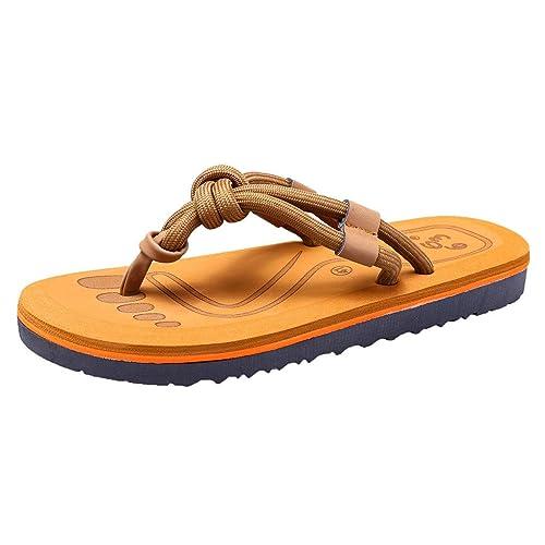 Herren Zehentrenner Sandalen Flip Flops Slipper Leder Hausschuhe Strandschuhe