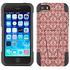 Apple iPhone 5 Hybrid Case Victorian Damasks on TerraCotta 2 Piece Style Silicone Case Cover with Stand for Apple iPhone 5 and 5S