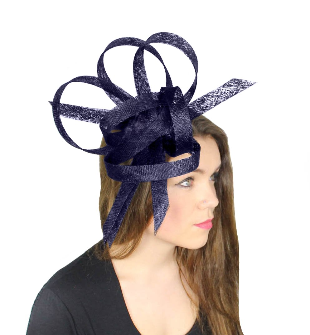 Hurricane Sinamay Ascot Fascinator Hat - With Headband Navy by Hats By Cressida