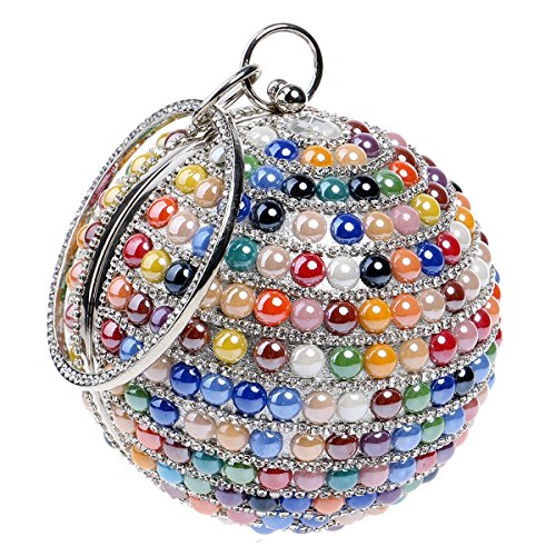 Beaded Purse (Boutique Women's Beaded Evening Bag Round Shape Clutches with Chain Sling Bags Mini Purse Wallet)