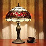12-Inch Vintage Pastoral Stained Glass Tiffany Table Lamp Bedroom Lamp Bedside Lamp