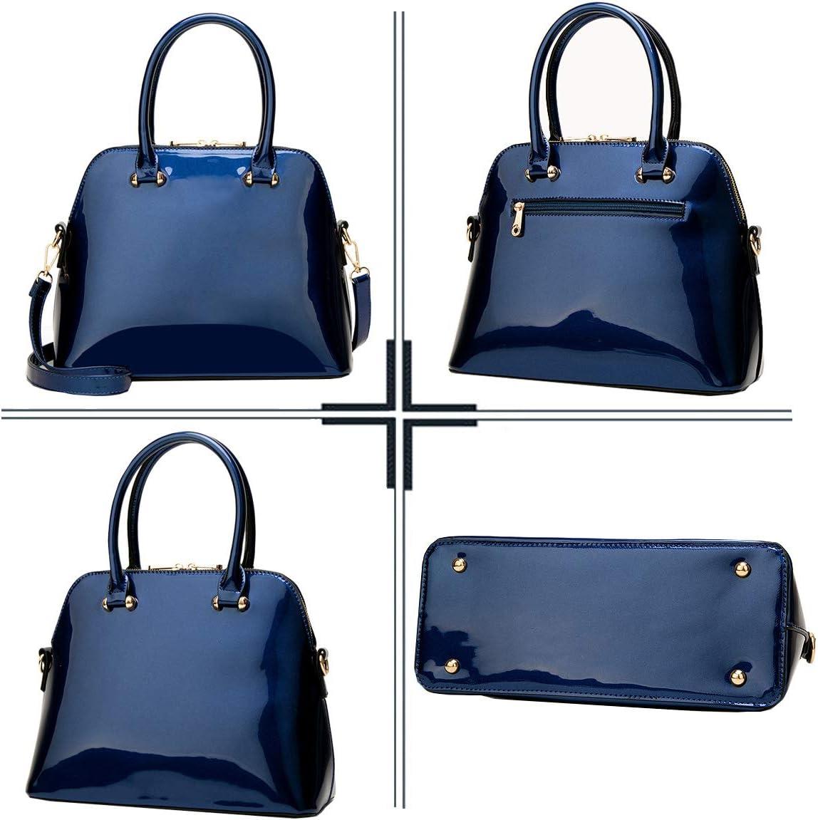 SDINAZ Bolsos de Mano Mujer Bolsos Bandolera Elegante Moda Charol Bolsos de Hombro Azul