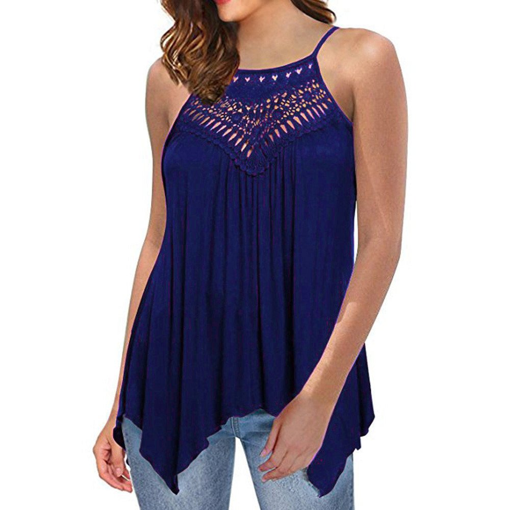 Women's Casual Tops Off Shoulder Sleeveless Vests Loose Solid Tank Tops Blouse Chaofanjiancai Shirts Blue