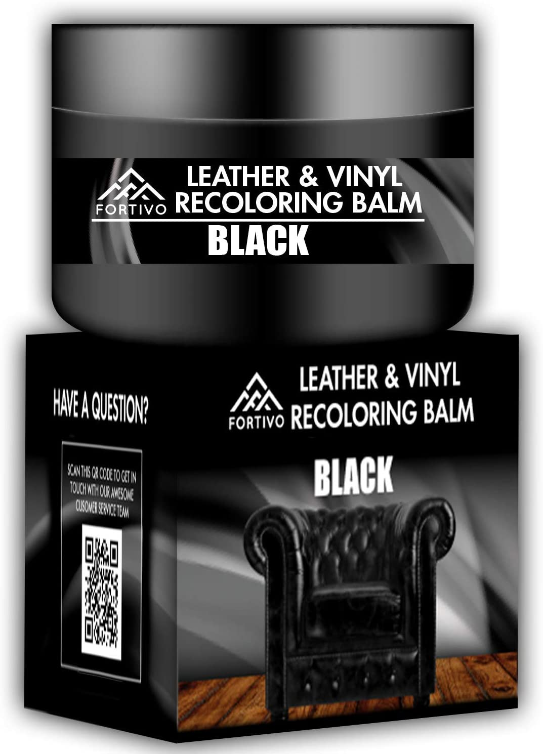 Black Leather Recoloring Balm - Leather Repair Kits for Couches - Leather Color Restorer for Furniture, Car Seats, Belt, Boots - Leather Repair Cream for Upholstery - Refurbishing Black Leather Dye