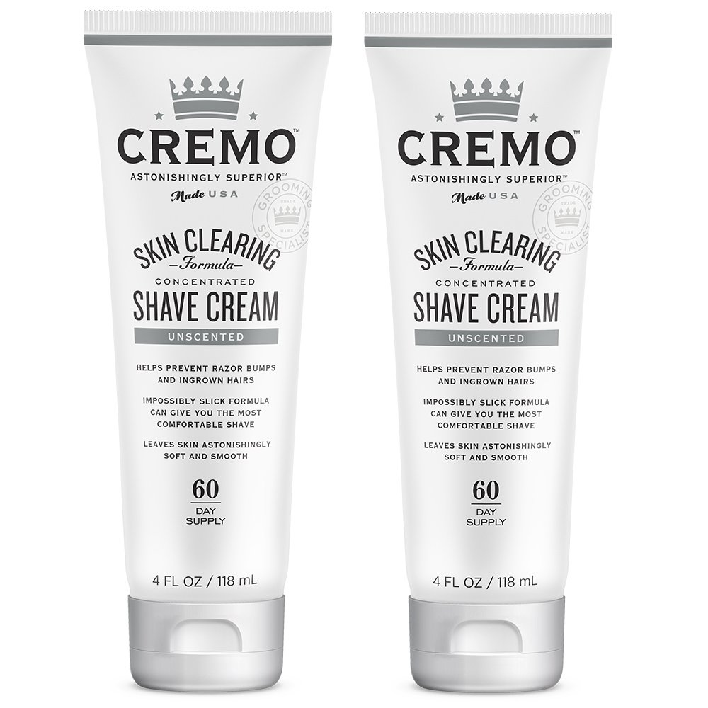 Cremo Unscented Shave Cream With Skin Clearing Formula, Helps Prevent Razor Bumps, Blemishes and Ingrown Hairs, 4 Fluid Ounces, 2-Pack