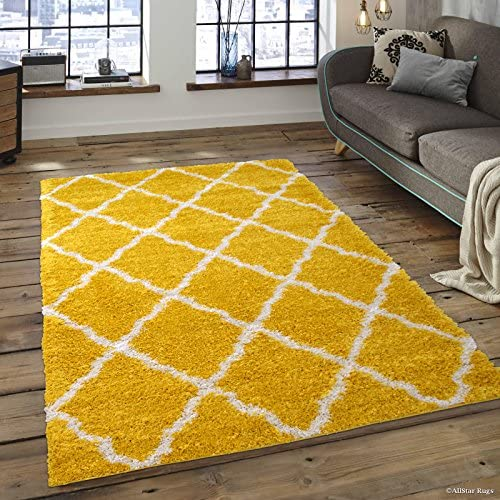 Allstar 8×10 Yellow Modern and Contemporary Rectangular Shag Accent Rug with Ivory Trellis Design 7 5 x 9 8