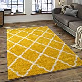 Allstar 8 X 10 Yellow with White Modern High Pile Posh Shaggy Trellised Area Rug (7' 9