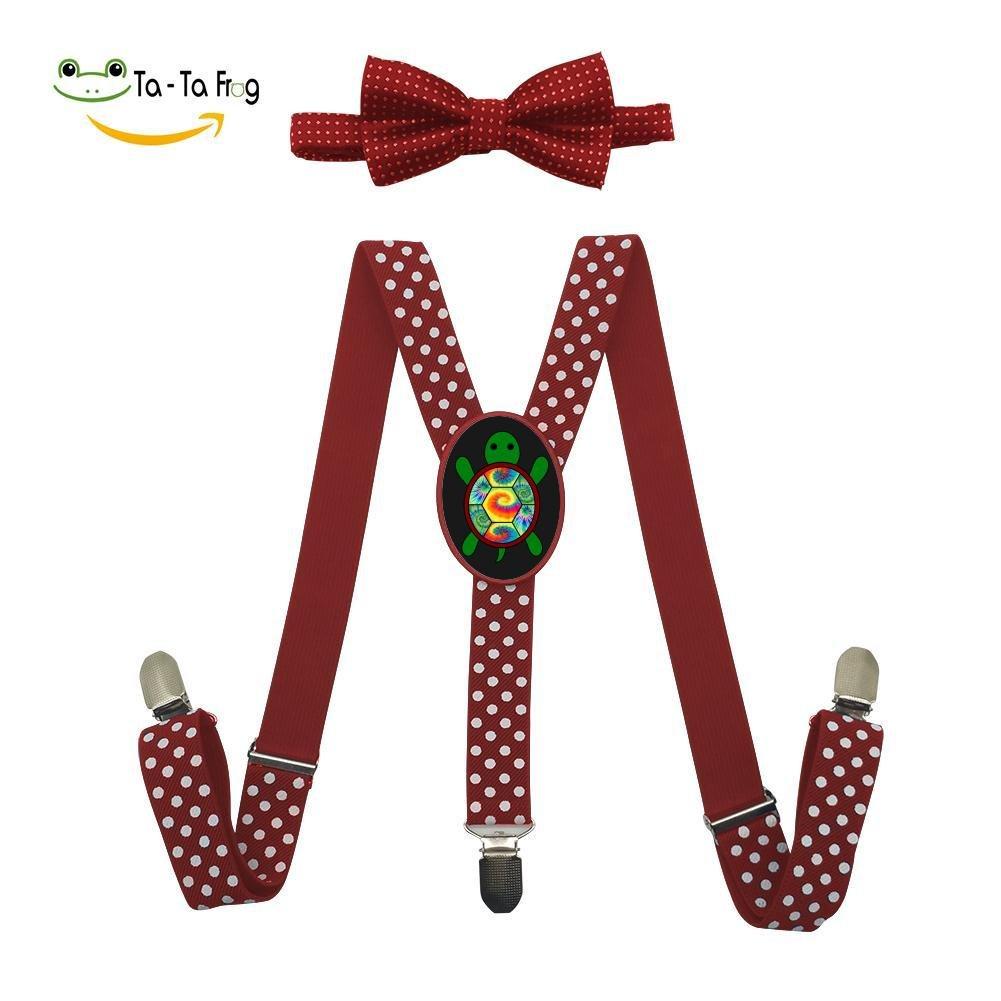 XTQI Sea Turtle Tie Dye Suspenders Bowtie Set-Adjustable Length Red