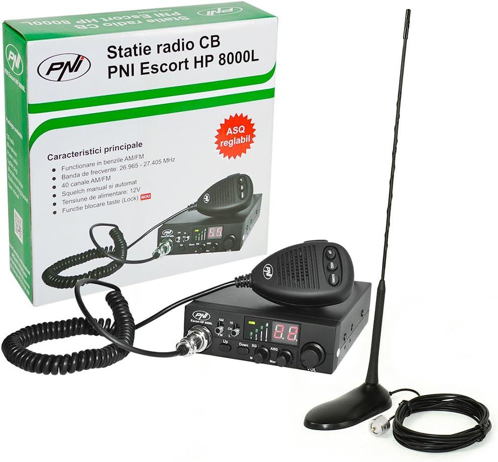 Radio CB PNI ESCORT HP 8000L ASQ + antena CB PNI Extra 45 con imán