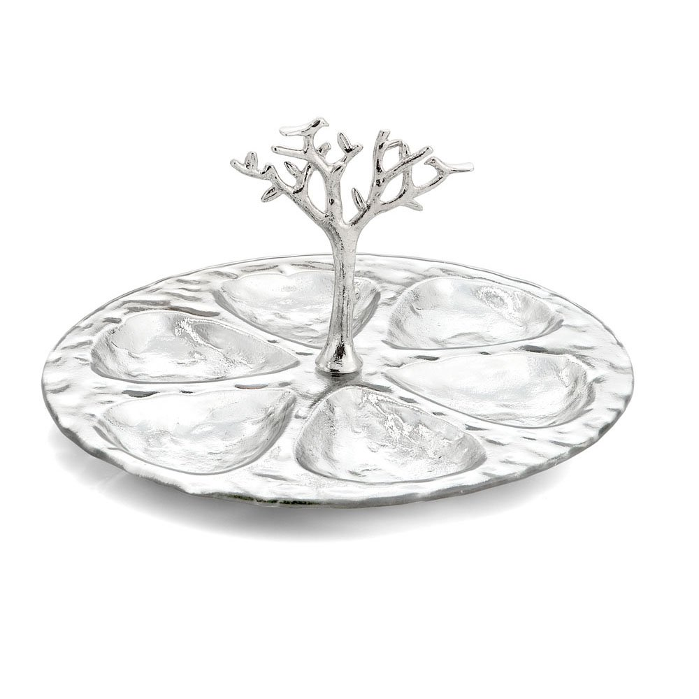 Michael Aram Tree Of Life Glass 6 Compartment Plate, Multicolor