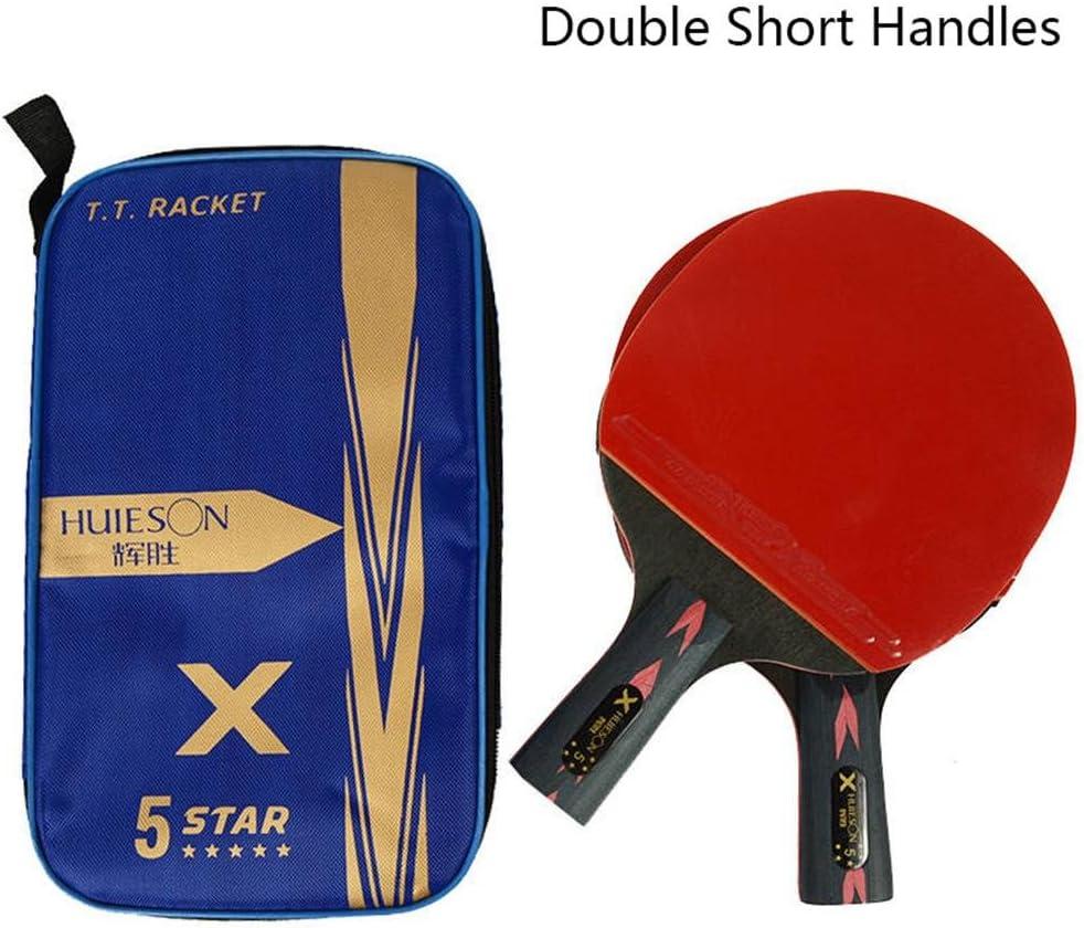 RONDA Pala Tenis De Mesa Huieson 2PCS 5 Estrellas Ligeras Y Potentes Baquetas De Ping Pong De Carbono con Mango Cómodo para Jugadores De Tenis De Mesa, Principiantes, Amateurs Y Profesionales