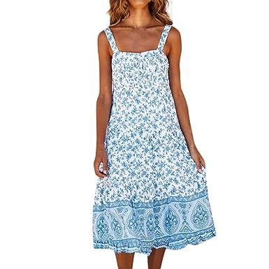 TOPKEAL Vestido Largo Azul con Estampado Floral para Mujer Casual ...