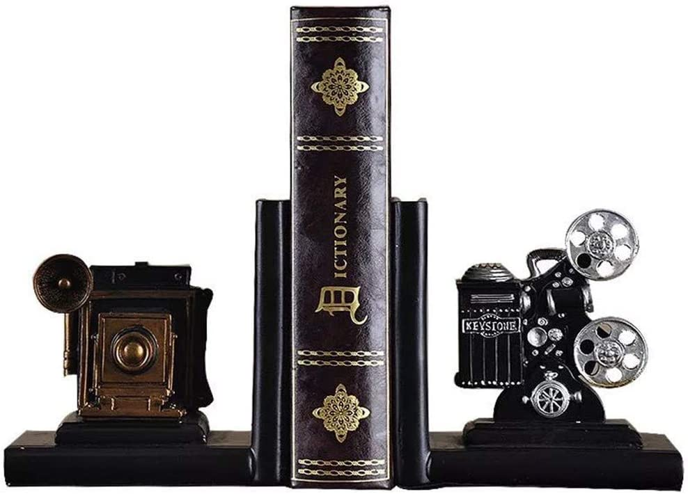 WXQY Bookend, Bookends Industrial Vintage Style American Retro Camera Model Book Stand Book by Bookend Study Bookcase Figurines Statues Sculptures Office Decoration