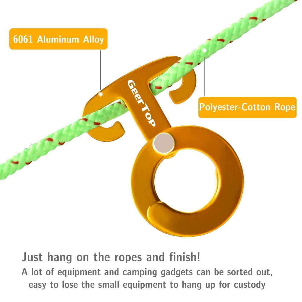 1 x Guy Line Kit de Cuerda GEERTOP 4 x Ultralight Aluminum Guyline Hebilla Autoblocante Ganchos para Colgar