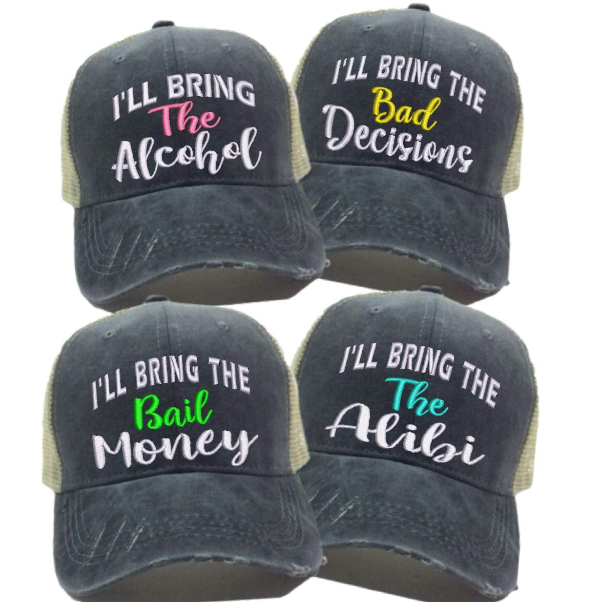 I'll Bring The Alcohol Bad Decisions Hat Custom Men Women's Bail Money Alibi Ball Cap (Black/Tan Hat - Set All 4 Sayings - Turquoise)