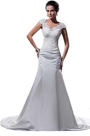 d8c024fef8a3 Angel Formal Dresses Women's V Neck Applique Mermaid Court Train Wedding  Dresses (2, Ivory