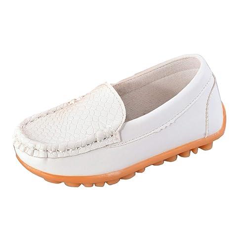 Zeagoo Zapatos Mocasines Planos Casuales Sin Cordones Para Niño/Niña/Bebe - Blanco, Cuero sintetico, Goma, Algodón, 23 EU: Amazon.es: Zapatos y complementos