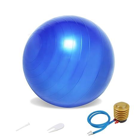 Balón resistente para ejercicios, 65 cm, bomba de aire de pedal ...