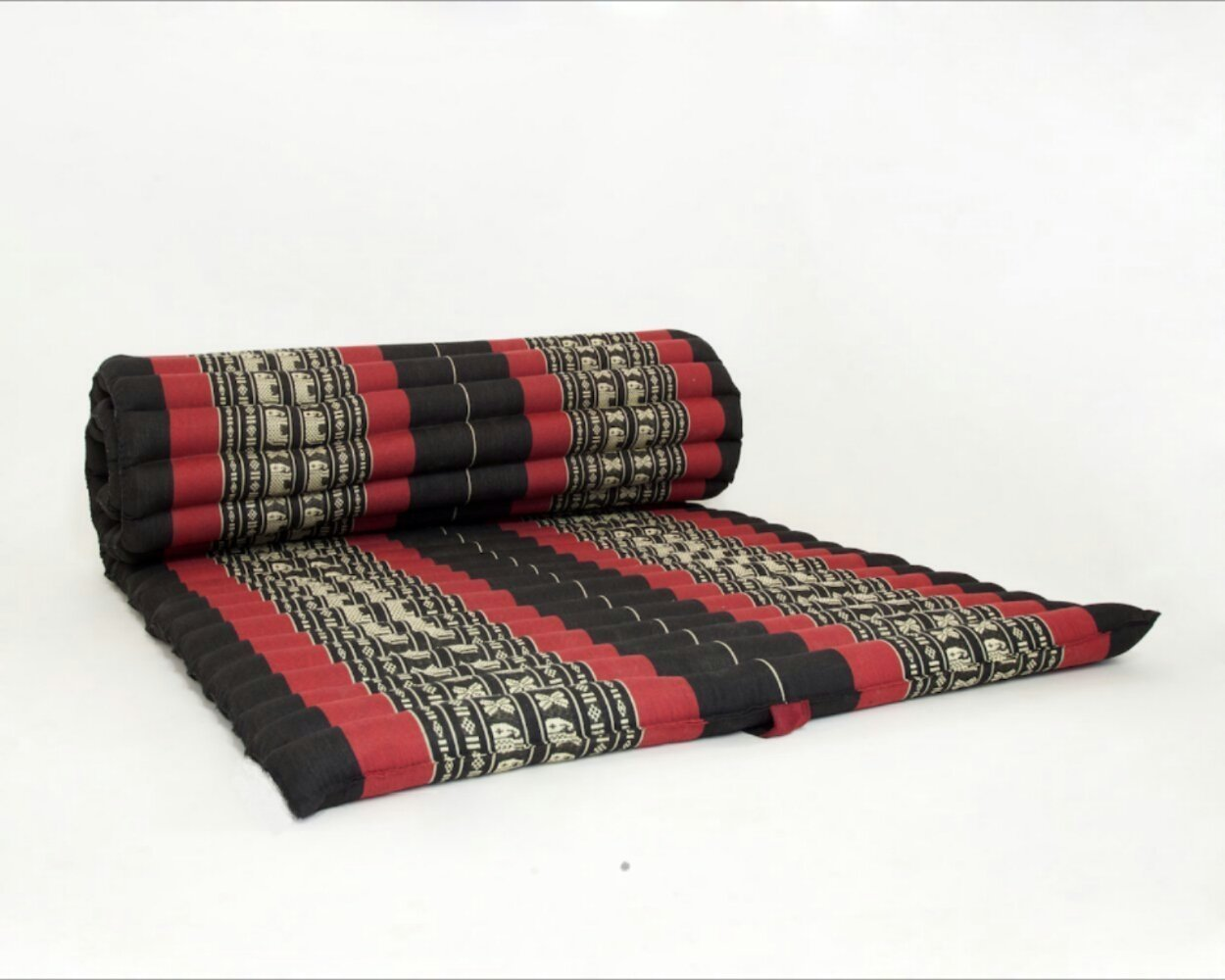 Design by UnseenThailand Roll Up Thai Mattress, Kapok Fabric, Premium Double Stitched, 79x41x2 inches. (Black - Red)